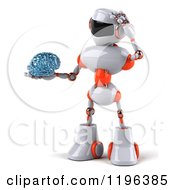 Cartoon Of A 3d White And Orange Techno Robot Holding A Glass Brain 2 Royalty Free Vector Clipart