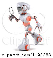 Cartoon Of A 3d White And Orange Techno Robot Using A Magnifying Glass 2 Royalty Free Vector Clipart