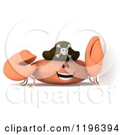 Cartoon Of A 3d Pirate Crab By A Sign Royalty Free Vector Clipart
