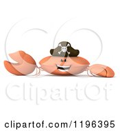 Cartoon Of A 3d Pirate Crab Presenting Royalty Free Vector Clipart