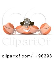 Cartoon Of A 3d Pirate Crab Smiling Royalty Free Vector Clipart