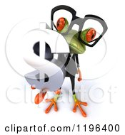 Cartoon Of A 3d Formal Springer Frog Wearing Glasses And Holding A Dollar Symbol 3 Royalty Free Vector Clipart