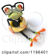 Cartoon Of A 3d Formal Springer Frog Sitting With A Duck Inner Tube 3 Royalty Free Vector Clipart