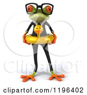 Cartoon Of A 3d Formal Springer Frog Standing With A Duck Inner Tube Royalty Free Vector Clipart