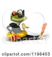 Cartoon Of A 3d Formal Springer Frog Sitting With A Duck Inner Tube 2 Royalty Free Vector Clipart