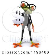 Cartoon Of A 3d Formal Springer Frog Wearing Glasses And Holding A Dollar Symbol Royalty Free Vector Clipart