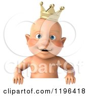 Cartoon Of A 3d Caucasian Baby Boy Wearing A Crown Over A Sign Royalty Free Vector Clipart