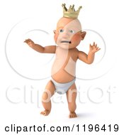 Cartoon Of A 3d Walking Caucasian Baby Boy Wearing A Crown Royalty Free Vector Clipart