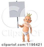 Cartoon Of A 3d Caucasian Baby Boy Wearing A Crown And Holding A Sign Royalty Free Vector Clipart
