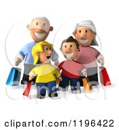 Cartoon Of A 3d Happy Family Carrying Shopping Bags Royalty Free Vector Clipart