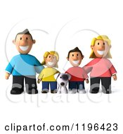 Cartoon Of A 3d Happy Family With A Dog Royalty Free Vector Clipart