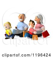 Cartoon Of A 3d Happy Family Carrying Shopping Bags 2 Royalty Free Vector Clipart
