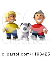 Cartoon Of A 3d Happy Couple Or Children Running After Their Dog Royalty Free Vector Clipart