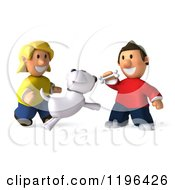 Cartoon Of A 3d Happy Couple Or Children Playing With Their Dog Royalty Free Vector Clipart