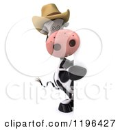 Cartoon Of A 3d Cow Mascot Wearing A Cowboy Hat Looking Around A Sign Royalty Free Vector Clipart