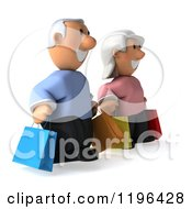 Cartoon Of A 3d Happy Senior Couple Carrying Shopping Bags 2 Royalty Free Vector Clipart