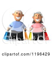 Cartoon Of A 3d Happy Senior Couple Carrying Shopping Bags Royalty Free Vector Clipart