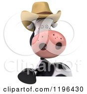 Cartoon Of A 3d Cow Mascot Wearing A Cowboy Hat Over A Sign Royalty Free Vector Clipart