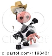 Cartoon Of A 3d Cow Mascot Wearing A Cowboy Hat And Presenting Royalty Free Vector Clipart