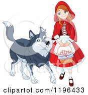 Happy Red Riding Hood Walking With A Friendly Wolf