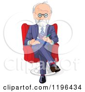 Cartoon Of A Gray Haired Male Psychiatrist Taking Notes Royalty Free Vector Clipart