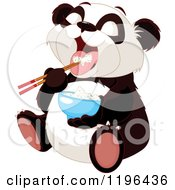 Cartoon Of A Cute Chubby Panda Bear Eating Rice With Chop Sticks Royalty Free Vector Clipart