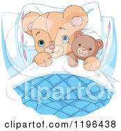 Cartoon Of A Cute Teddy Bear Tucked In With A Stuffed Animal Royalty Free Vector Clipart by Pushkin
