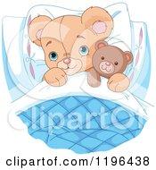 Cute Teddy Bear Tucked In With A Stuffed Animal