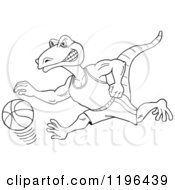 Clipart Of An Outlined Goanna Lizard Mascot Dribbling A Basketball Royalty Free Vector Illustration by LaffToon