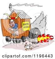 Clipart Of A Chicken Running From A Pig On A Hot Rod Smoke House Shack Royalty Free Vector Illustration by LaffToon