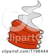 Clipart Of Steam Rising From Spare Ribs Royalty Free Vector Illustration by LaffToon