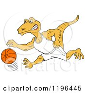Clipart Of A Goanna Lizard Mascot Dribbling A Basketball Royalty Free Vector Illustration by LaffToon