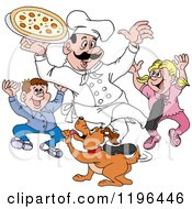 Clipart Of A Happy Male Chef Holding Pizza Over Excited Children And A Dog Royalty Free Vector Illustration by LaffToon