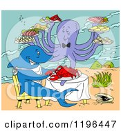 Clipart Of An Octopus Serving A Shark Eating Lobster Under The Sea Royalty Free Vector Illustration by LaffToon