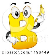 Cartoon Of A Yellow Letter B Mascot Holding A Banana Royalty Free Vector Clipart by BNP Design Studio