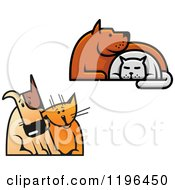 Clipart Of Dogs And Cats Cuddling Royalty Free Vector Illustration by Vector Tradition SM