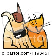 Clipart Of A Dog And Cat Sitting Together Royalty Free Vector Illustration