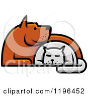 Clipart Of A Dog And Cat Cuddling Royalty Free Vector Illustration