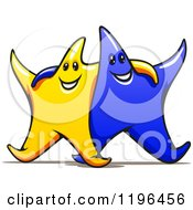 Cartoon Of Happy Gold And Blue Stars With Their Arms Around Each Other Royalty Free Vector Clipart