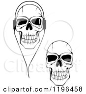 Poster, Art Print Of Black And White Cracked Skulls With Headphones 2