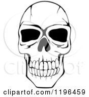 Clipart Of A Black And White Cracked Skull 2 Royalty Free Vector Illustration