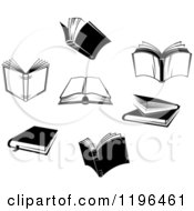 Clipart Of Black And White Open And Closed Books Royalty Free Vector Illustration