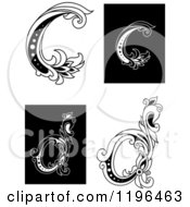 Clipart Of A Vintage Floral Letter C And D Royalty Free Vector Illustration