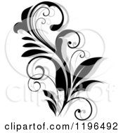 Clipart Of A Black And White Flourish With A Shadow 5 Royalty Free Vector Illustration