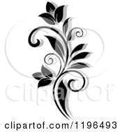 Clipart Of A Black And White Flourish With A Shadow 6 Royalty Free Vector Illustration