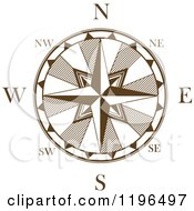 Clipart Of A Brown And White Compass Rose 6 Royalty Free Vector Illustration
