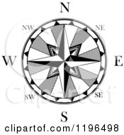 Clipart Of A Black And White Compass Rose 3 Royalty Free Vector Illustration