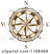 Clipart Of A Brown And White Compass Rose 5 Royalty Free Vector Illustration