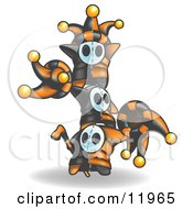 Joker Jester Characters Standing On Top Of Eachother Clipart Illustration