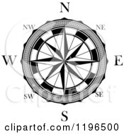 Clipart Of A Black And White Compass Rose 4 Royalty Free Vector Illustration